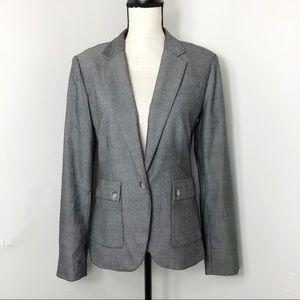 Banana Republic Grey Herringbone Blazer Jacket 8